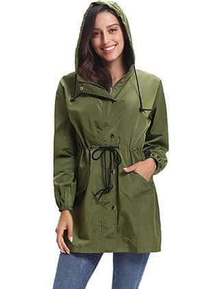Long Sleeve Hooded Sashes Trench Coats