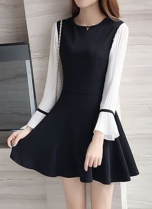 Color Block Long Sleeve Above Knee A-line Dress