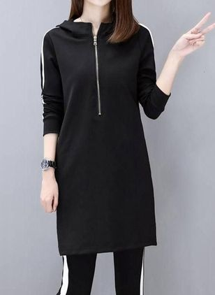Color Block Zipper Sweatershirt Above Knee Shift Dress