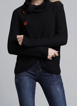 High Neckline Solid Tight Regular Buttons Sweaters