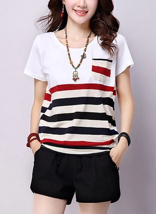 Color Block Round Neck Short Sleeve Casual T-shirts