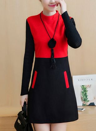 Color Block Pockets Long Sleeve Above Knee Shift Dress