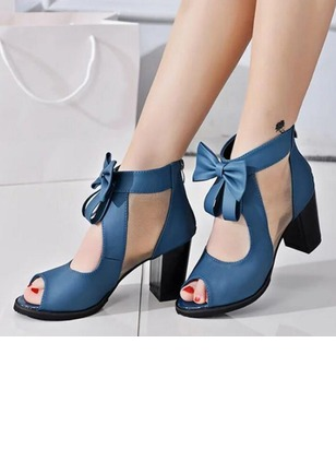 Bowknot Peep Toe Chunky Heel Shoes