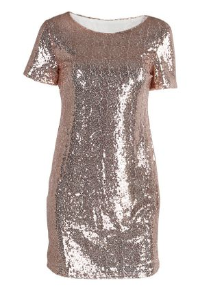 Solid Sequins Short Sleeve Above Knee Shift Dress