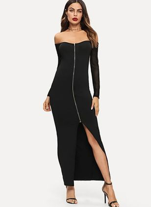 Solid Zipper Pencil Maxi Sheath Dress