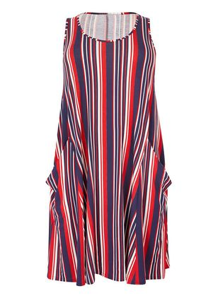 Stripe Pockets Sleeveless Knee-Length Shift Dress