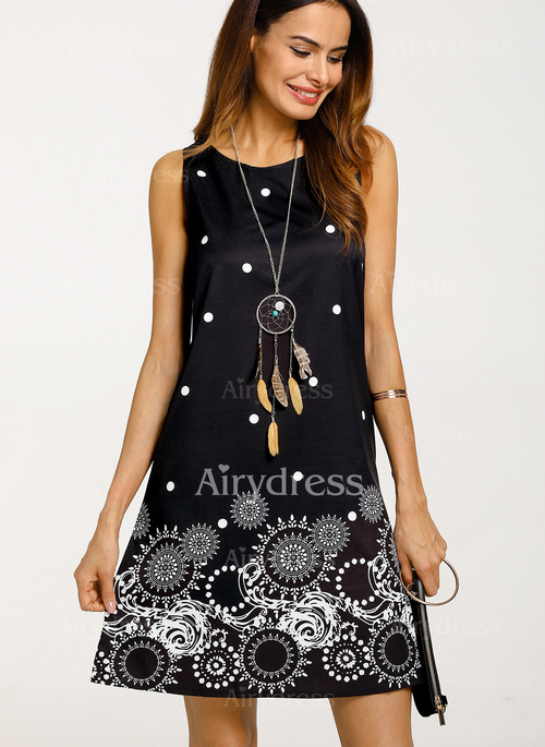 Polka Dot Tank Sleeveless Above Knee A-line Dress