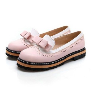 Women's Flats Closed Toe Low Heel Leatherette Shoes