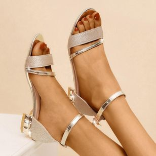 Women's Crystal Buckle Low Top Low Heel Sandals (4127948)