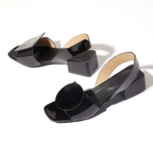 Women's Others Square Toe Patent Leather Low Heel Sandals (1361327)