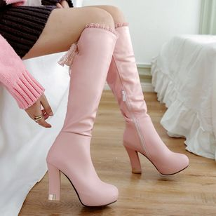 Stitching Lace Knee High Boots Chunky Heel Shoes