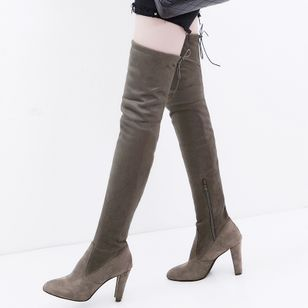 Zipper Over The Knee Boots Chunky Heel Shoes