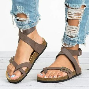 Women's Buckle Toe Ring Flat Heel Sandals (4039731)