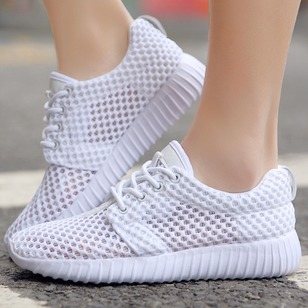 Lace-up Hollow-out Sneakers Cloth Flat Heel Shoes