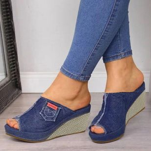 Women's Heels Denim Wedge Heel Sandals (1515667)