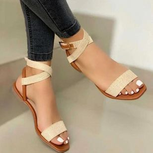 Women's Buckle Flats Leatherette Flat Heel Sandals Flats (4229125)
