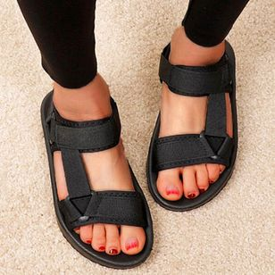 Women's Velcro Round Toe Cloth Flat Heel Sandals (147207829)