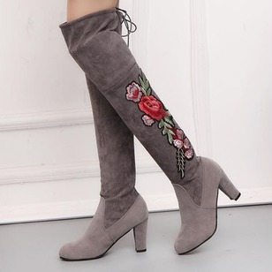 Women's Boots Pumps Closed Toe Over The Knee Boots Chunky Heel Suede Shoes