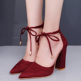 Bowknot Pointed Toe Nubuck Chunky Heel Shoes