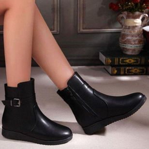 Women's Buckle Zipper Ankle Boots Closed Toe Flat Heel Boots (145967599)
