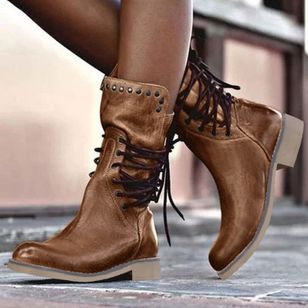 Women's Lace-up Mid-Calf Boots Low Heel Boots (1509474)