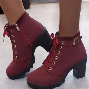 Women's Buckle Zipper Lace-up Closed Toe Round Toe Chunky Heel Boots (102930856)