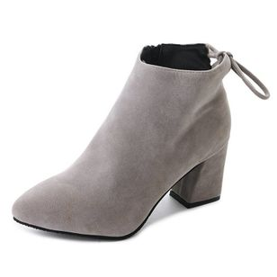 Women's Ankle Boots Nubuck Chunky Heel Boots (101327285)
