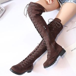 Lace-up Over The Knee Boots Low Heel Shoes