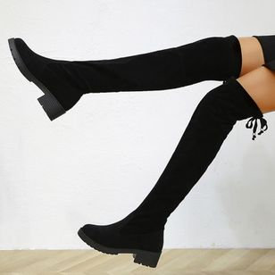 Women's Lace-up Knee High Boots Closed Toe Cloth Low Heel Boots (135452852)