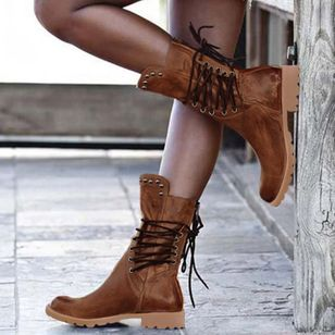 Women's Rivet Lace-up Mid-Calf Boots Closed Toe Round Toe Low Heel Boots (107151851)