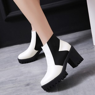 Ankle Boots PU Chunky Heel Shoes