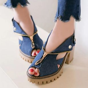 Women's Zipper Button Peep Toe Slingbacks Denim Chunky Heel Sandals (100667997)