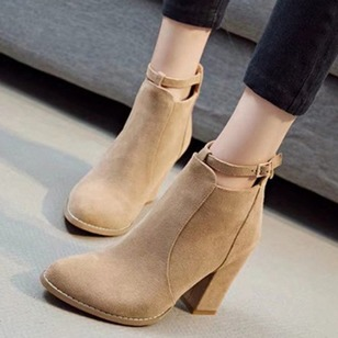 Ankle Boots Leatherette Chunky Heel Shoes
