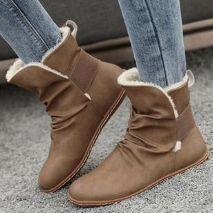 Women's Mid-Calf Boots Closed Toe Round Toe Flat Heel Boots (106821261)