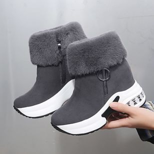 Women's Zipper Ankle Boots Round Toe Cloth Wedge Heel Boots (146699693)
