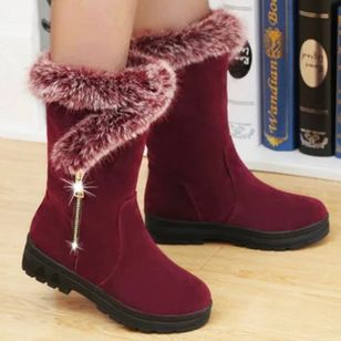 Women's Zipper Fur Mid-Calf Boots Heels Nubuck Low Heel Boots (146742012)