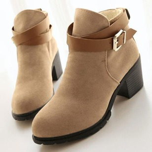 Women's Pumps Closed Toe Wedges Ankle Boots Chunky Heel Suede Shoes