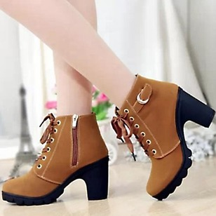 Women's Boots Ankle Boots Chunky Heel Leatherette Shoes