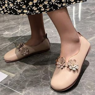 Women's Flower Closed Toe Round Toe Flat Heel Flats (4458693)
