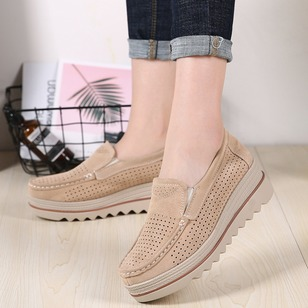 Hollow-out Closed Toe Wedge Heel Shoes