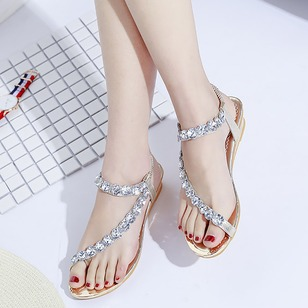 Crystal Toe Ring Wedge Heel Shoes