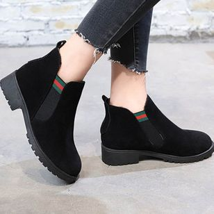 Elastic Band Ankle Boots Low Heel Shoes