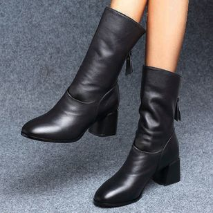 Women's Zipper Mid-Calf Boots Leatherette Chunky Heel Boots (146842026)