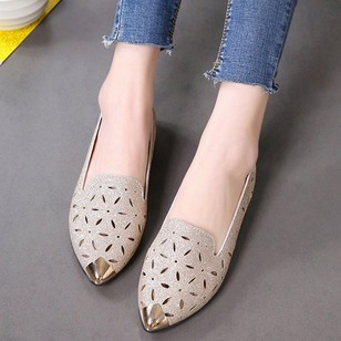Hollow-out Flats PU Flat Heel Shoes