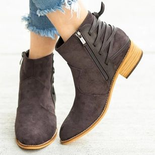 Women's Zipper Lace-up Ankle Boots Round Toe Heels Nubuck Chunky Heel Boots (146678728)