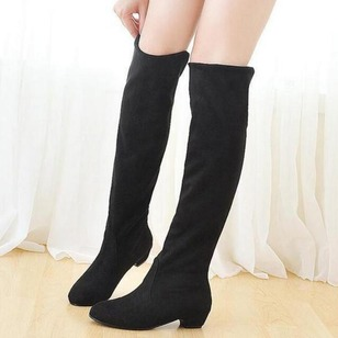 Women's Boots Closed Toe Over The Knee Boots Chunky Heel Suede Shoes
