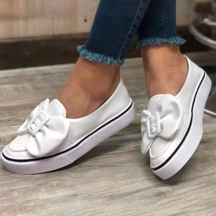 Women's Bowknot Closed Toe Cloth Flat Heel Sneakers (106703623)