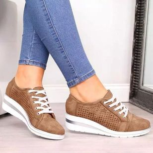 Women's Lace-up Hollow-out Closed Toe Wedge Heel Sneakers (106703639)