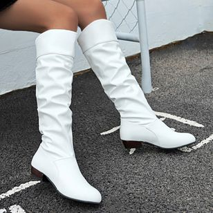 Women's Knee High Boots Closed Toe Low Heel Boots (107952727)