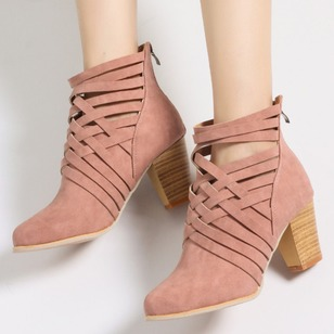 Hollow-out Ankle Boots PU Stiletto Heel Shoes